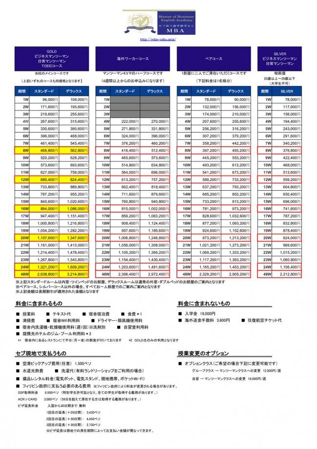 MBA 価格表
