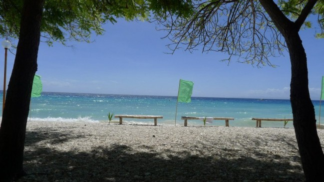 Benches in Tingko Beach in Alcoy, Cebu.