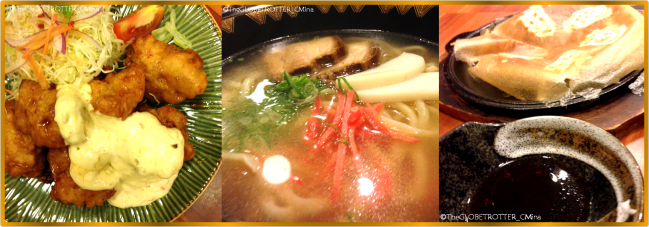 TOP THREE: CHICKEN NAN-BAN AGE; TOP TWO: OKINAWA SOBA; TOP ONE: HAKATA TEPPAN GYOZA