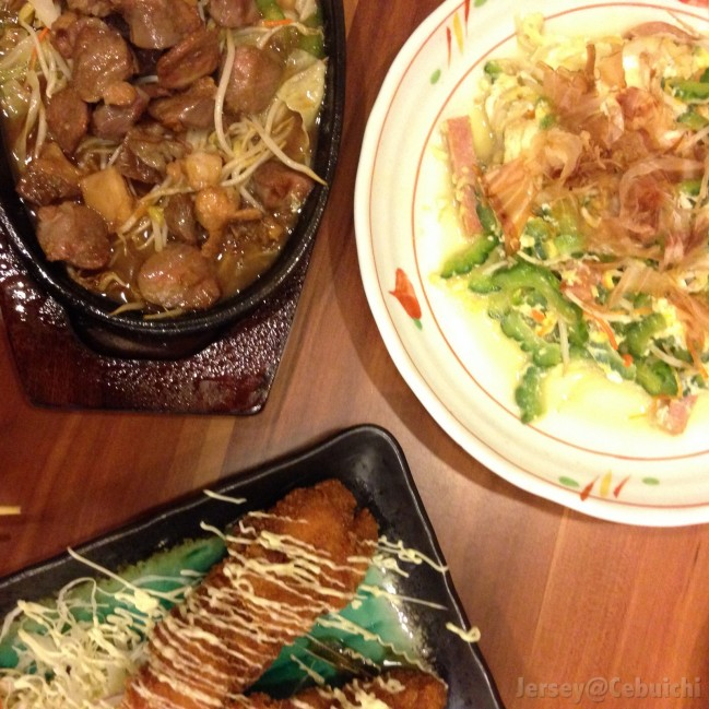 Dishes served. (Left – Mix Horimon Yaki) , (Middle – Kushikatsu) , (Right – Goya Champoroo)