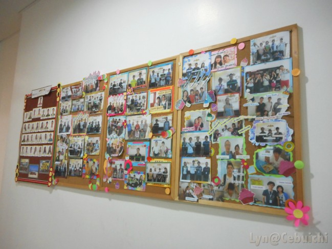 Previous students' pictures with their teachers.