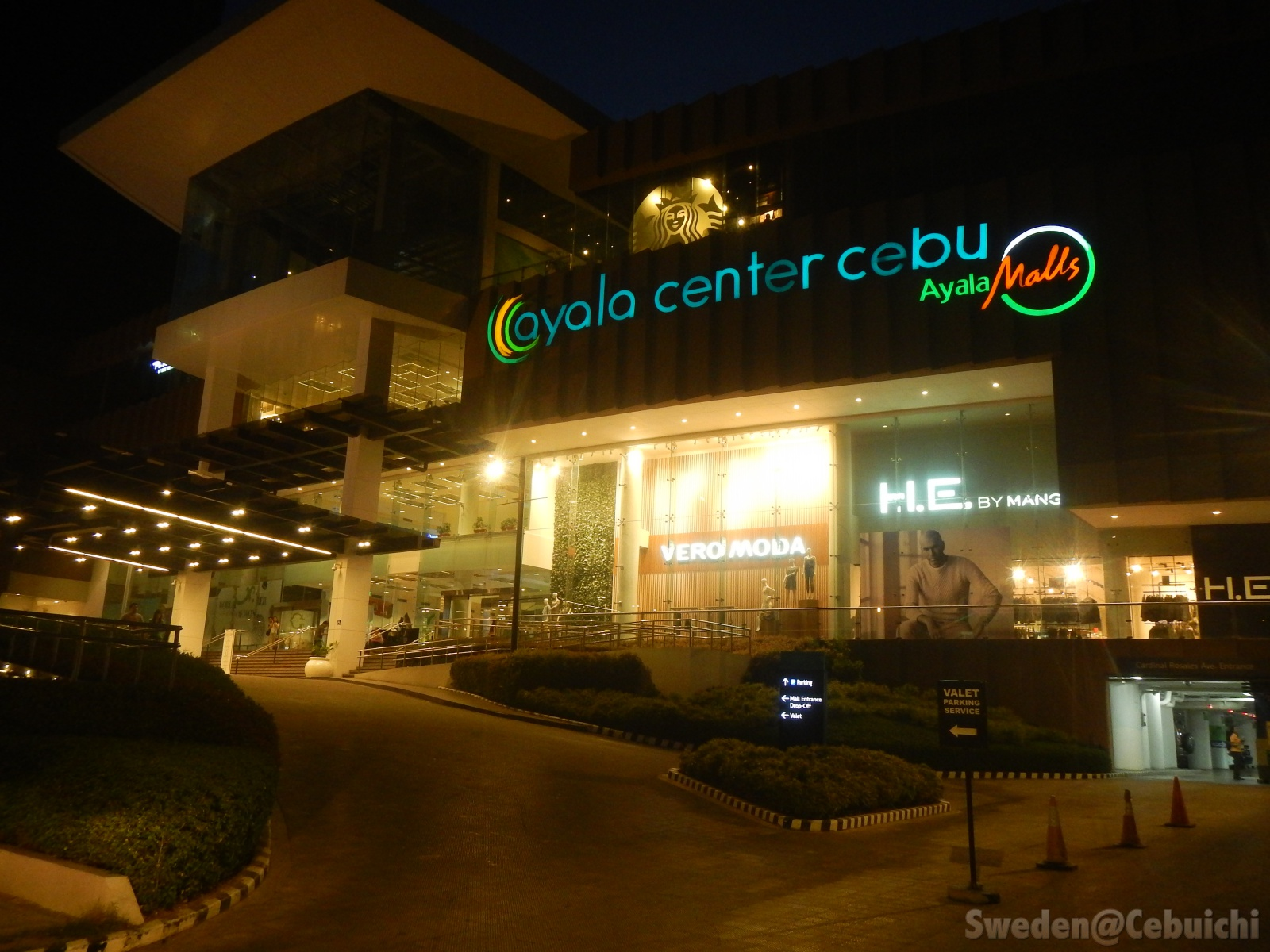 Luminous facade of Ayala Mall