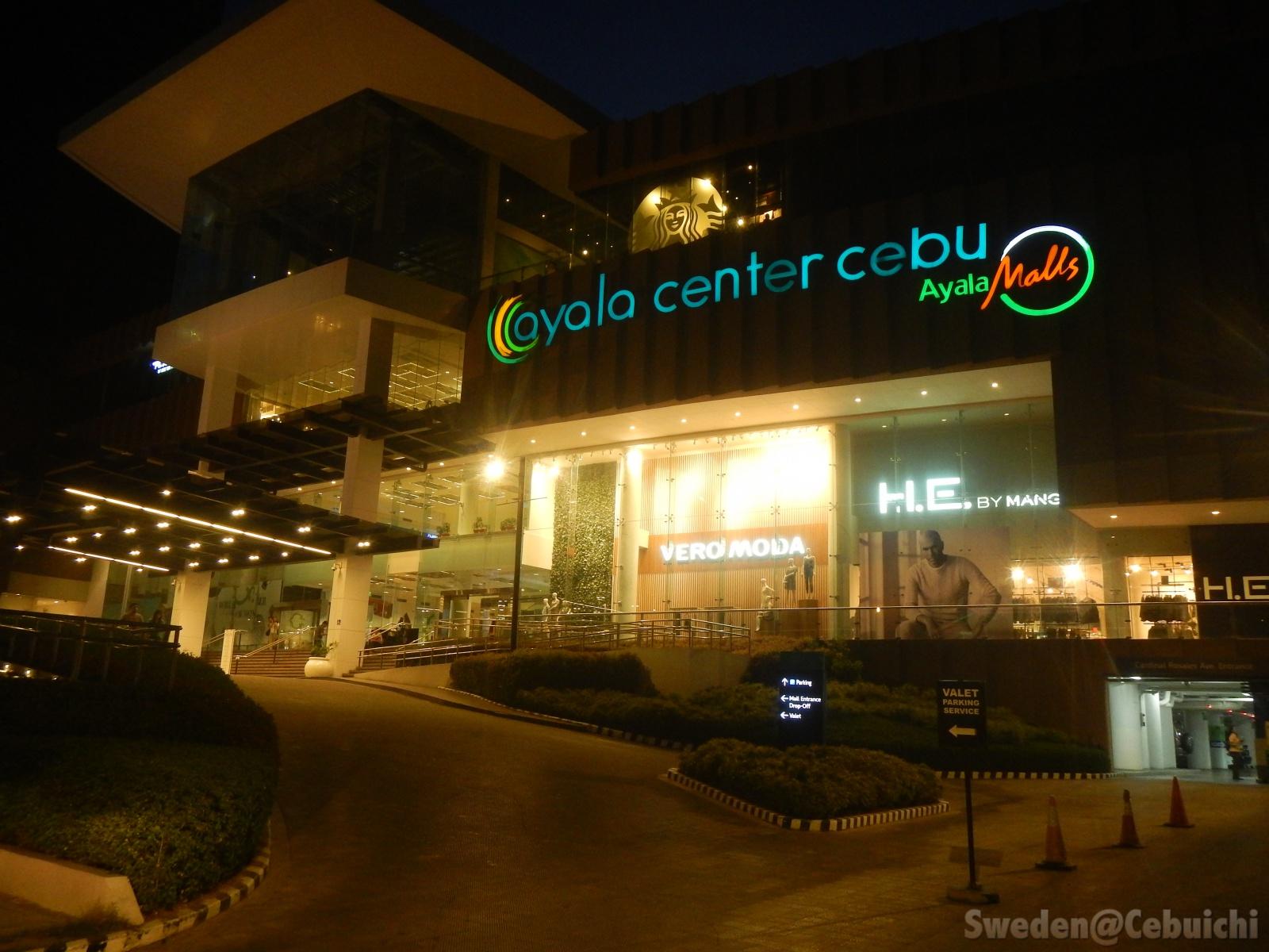 Luminous facade of Ayala Mall