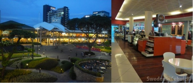 Dine with nature at the Terraces (left) or grab some snacks at a food stall (right)!