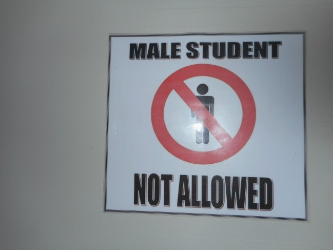 A friendly reminder for the male students who wish to go to the females rooms.