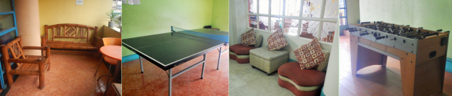 Left to right: 1) Lounging area at the terrace; 2) Table tennis; 3) Lounging area near the cafeteria; 4) Table soccer