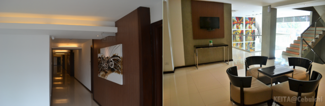 Left: The hallway; Right: A lounging area
