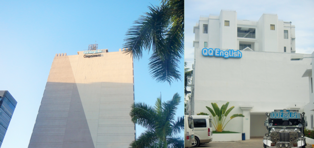 Left: QQ English in Cebu IT Park; Right: QQ English Seafront in Mactan, Cebu