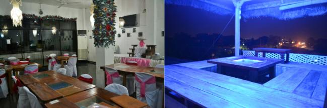 左:エルスウェーニョではケータリングのサービスも行っています。 右:屋上にはVIP仕様の日本スタイルのコテージもあります。