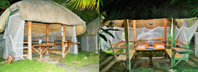フィリピンコテージの外観と内観 (エルスウェーニョには日本タイプのコテージもあります。トリップアドバイザーで写真を見ることができます)