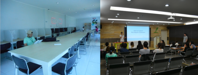 Left: study room. (Photo credits: Lyn Limoran) Right: amphitheater.