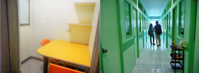 Left: a man-to-man classroom. Right: The green section for listening classes. (Photo credits: Lyn Limoran)