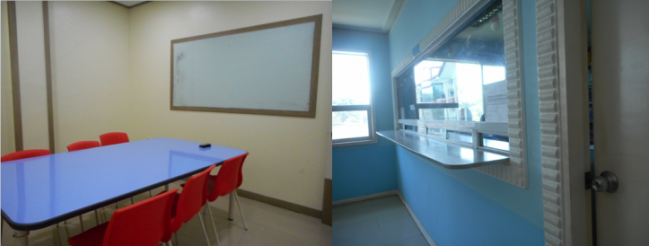 Left: group classroom. (Photo credits: Lyn Limoran)  Right: accounting office  (Photo credits: Lyn Limoran)