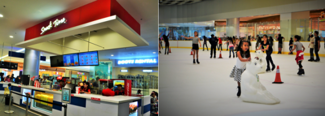 LEFT: There's a snack bar to head to anytime your stomach complains. But it's a no-no to eat inside the rink. So eat that food on one of the benches set in this area. RIGHT: For low-risk skating, you can rent a skating aid at 100PHP/hour.