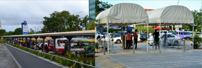 Take the jeepney at the PUV terminal, or taxi at any of the stations scattered around the mall.