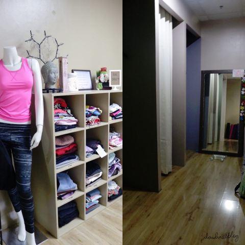 左側の写真がヨガ用の棚です。ここでは安いものも、有名ブランドのものも売っています。右側の写真はフィッティングルームです。